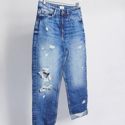 River Island Carrie ripped mom jeans in mid blue | ASOS (Global)