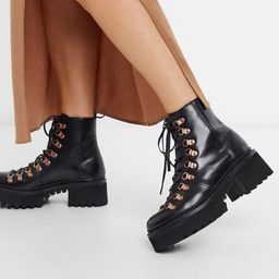 Grenson Nanette black leather patent chunky hiker boots with rose gold hardware | ASOS (Global)