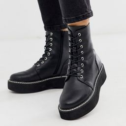 ASOS DESIGN Alva chunky lace up ankle boots in black | ASOS (Global)