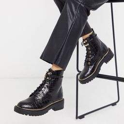 New Look chunky lace up flat boots in black croc | ASOS (Global)