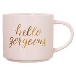 15oz Stoneware Hello Gorgeous Stackable Mug Pink/Gold - Threshold™   Target