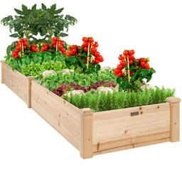 Best Choice Products 8x2ft Outdoor Raised Wooden Garden Bed Planter for Grass, Lawn, Yard - Natur... | Walmart (US)