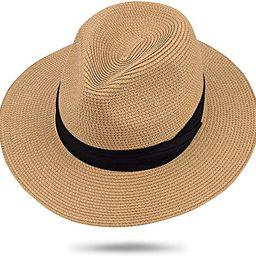 Maylisacc Womens Straw Panama Hat, Wide Brim Beach Sun Hats Summer Foldable Travel Sunhat UPF50 | Amazon (US)