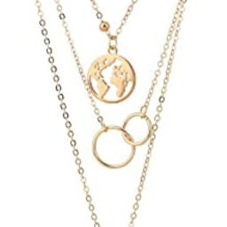 Retro Moon World Map Circle Pendant Multilayer Silver Necklace Party Charm Jewelry Accessories | Amazon (US)
