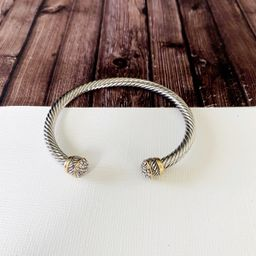 Cable Bracelet Collection :: Amy Paved Cap Mixed Metals   Baubles & Bits