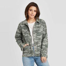 Women's Camo Print Long Sleeve Chore Jacket - Universal Thread™ Green | Target