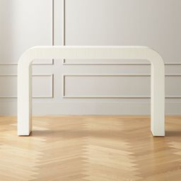 """Horseshoe Ivory Lacquered Linen 52"""" Console Table + Reviews 