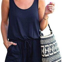 Women's Casual Solid Sleeveless Jumpsuit Crewneck Tie Waist Tank Top Short Romper with Pockets | Amazon (US)