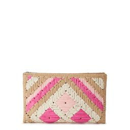 Eliza May Rose Straw Pattern Woven Summer Clutch | Walmart (US)