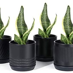 POTEY 053502 Plant Pots with Drainage Holes & Saucer - 4.2 Inch Glazed Ceramic Modern Planters In...   Amazon (US)