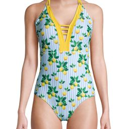 Simply Fit Women's 1-Piece Print Mix Swimsuit With Double Strap Plunge | Walmart (US)