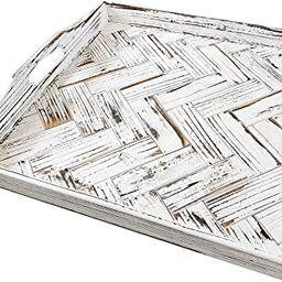 Olivia & Jane Paper and Pallet Rustic White Herringbone Ottoman Tray - Distressed Farmhouse Servi...   Amazon (US)