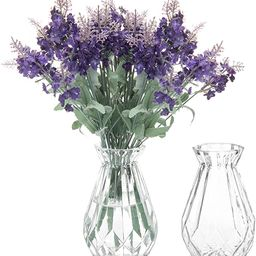 MyGift 5-Inch Decorative Clear Glass Diamond-Faceted Flower Vases, Set of 2   Amazon (US)