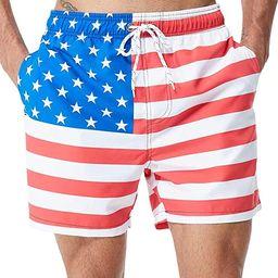 Tyhengta Mens Printed Swim Trunks Quick Dry Beach Shorts with Mesh Lining | Amazon (US)