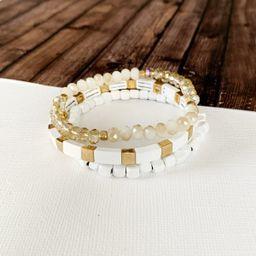Boutique Bracelet Collection :: Meredith White & Gold Tile 3pc Set   Baubles & Bits