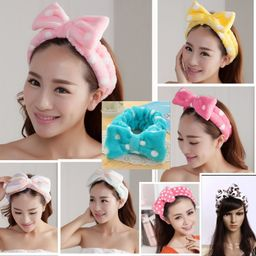 Beauty Big Bow Dot Striped Soft Shower Hair Band Wrap Headband Bath Spa MakeUp | Walmart (US)