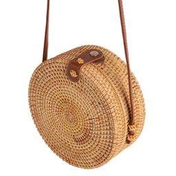 Fysho Handwoven Round Rattan Bag Shoulder Leather Straps Natural Chic Handbag straw rattan crossb... | Walmart (US)