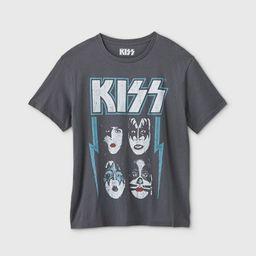 Women's Kiss Short Sleeve Graphic T-Shirt - Regular & Plus Charcoal Gray   Target