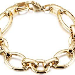 Gold Bracelet for Women Girls Stainless Steel Bracelet Wide Cuban Curb Link Bracelet Oval Bracele... | Amazon (US)