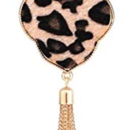 PHALIN Long Necklace for Women Leopard Quatrefoil Pendant Necklace Bohemia Fringe Tassel Necklace... | Amazon (US)