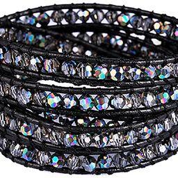 New! Crystal Wrap Bracelets for Women Girls Genuine Leather Adjustable Rhinestone Best Friend Cuf... | Amazon (US)
