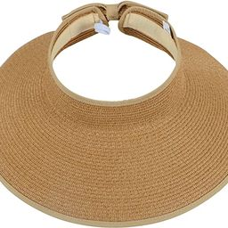Simplicity Women's Summer Foldable Straw Sun Visor w/Cute Bowtie | Amazon (US)