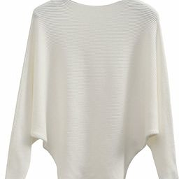 GABERLY Boat Neck Batwing Sleeves Dolman Knitted Sweaters and Pullovers Tops for Women | Amazon (US)