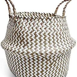 Taczie Handwoven Seagrass Basket with Handles   Foldable Storage Basket for Laundry, Picnic, Pot ...   Amazon (US)