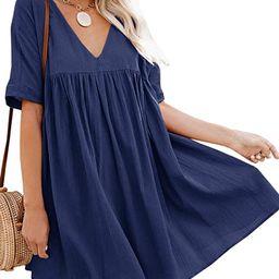 Bigyonger Womens A-Line Short Sleeve Tunic Dress V Neck Soild Babydoll Pleated Mini Dresses   Amazon (US)
