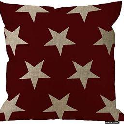 HGOD DESIGNS 18X18 Inch Cotton Linen Decorative Throw Pillow Cover Cushion Case, Flag Stars Galax... | Amazon (US)