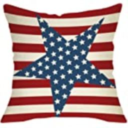 """LINKWELL 18""""x18"""" Independence Day Red Stripe America Holiday Burlap Pillow Cover Cushion Cover CC... 