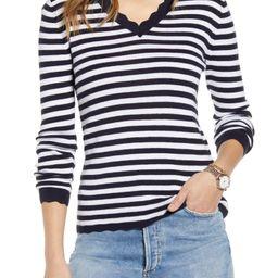 Scallop Trim V-Neck Sweater | Nordstrom