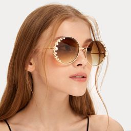 Faux Pearl Decor Round Frame Sunglasses | SHEIN