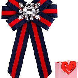 HEKEUOR Rhinestone Crystal Ribbon Brooches Bow Brooch Pre-Tied Bow Tie for Women Wedding Party Bo... | Amazon (US)