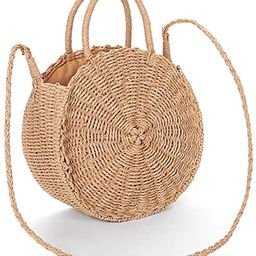 Obosoyo Straw Crossbody Bag Women Weave Shoulder Bag Round Summer Beach Sea Tote Handbags   Amazon (US)