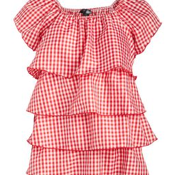 Pat Rego Women's Tank Tops RED/WHITE - Red & White Gingham Ruffle Cap-Sleeve Top - Plus   Zulily
