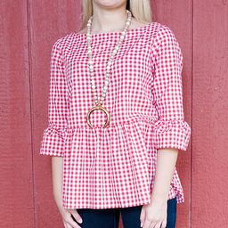 Haley and the Hound Women's Blouses - Red & White Gingham Bell-Sleeve Button-Back Peplum Top - Women   Zulily