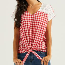 Suzanne Betro Weekend Women's Blouses 102RED/WHITE - Red & White Gingham Lace Tie-Hem V-Neck Top - W   Zulily