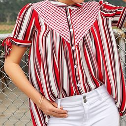 Reborn Collection Women's Blouses red - Red & White Stripe Gingham Bow-Sleeve Button-Up Top - Women   Zulily