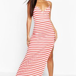 Womens Stripe Wrap Front Maxi Dress - Red - 2   Boohoo.com (US & CA)
