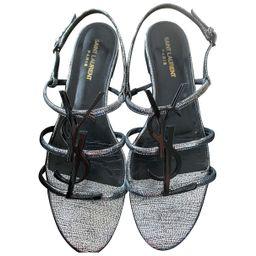 Saint Laurent Cassandra Anthracite Leather Sandals for Women 40 EU | Vestiaire Collective (Global)