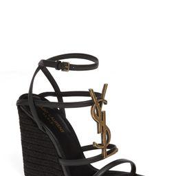 Women's Saint Laurent Cassandra Ysl Logo Wedge Sandal, Size 10.5US - Black | Nordstrom