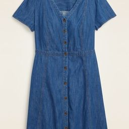 Fit & Flare Button-Front No-Peek Plus-Size Jean Dress | Old Navy (US)