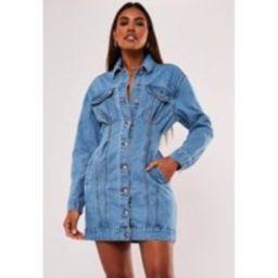 Petite Blue Cinched Waist Denim Dress | Missguided (US & CA)
