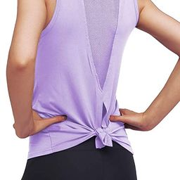 Womens Cute Workout Clothes Mesh Yoga Tops Exercise Gym Shirts Running Tank Tops | Amazon (US)