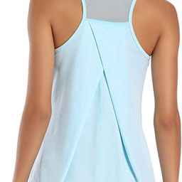 Workout Tops for Women Mesh Racerback Tank Yoga Shirts Gym Clothes | Amazon (US)