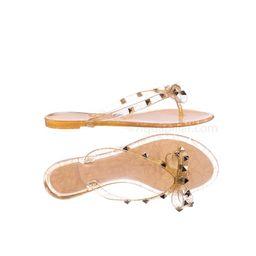 Joanie173 by Wild Diva, Rockstud Clear Lucite Jelly Slides - Women Flat Sandal Flip Flops | Walmart (US)