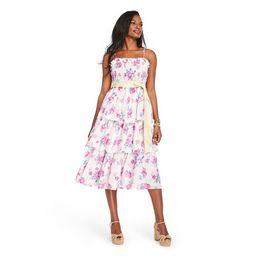 Women's Elise Smocked Tiered Dress - LoveShackFancy for Target (Regular & Plus) Ivory/Pink | Target