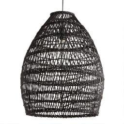 Black Woven Bamboo Pendant Shade   World Market