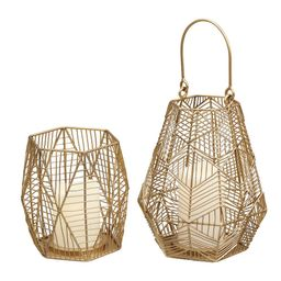 StyleWell Gold Metal Wire Lantern Candle Holder (Set of 2) | The Home Depot